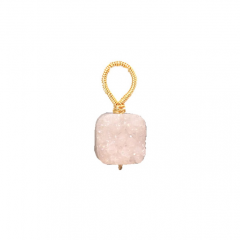 Wire wrapped white druzy quartz pendant