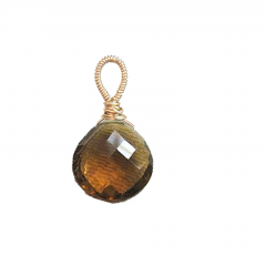 Wire wrapped whiskey quartz pendant